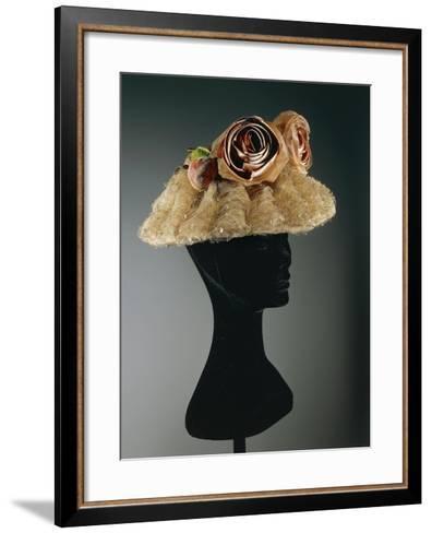 Women's Cloche Oriental Straw Hat Ornamented with Tulle, Net--Framed Art Print