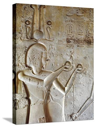 Egypt, Luxor, Valley of the Kings, Tomb of Seti II, Entrance Relief of Ra from Nineteenth Dynasty--Stretched Canvas Print