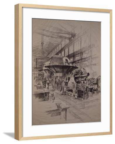 Interior of Cannon Factory, Construction of Howitzer and Gun Turret--Framed Art Print