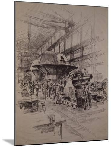 Interior of Cannon Factory, Construction of Howitzer and Gun Turret--Mounted Giclee Print