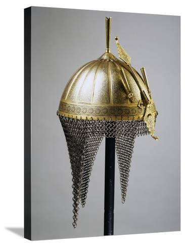 Helmet in Steel and Gold, Indian Manufacture, India, End of 18th Century--Stretched Canvas Print