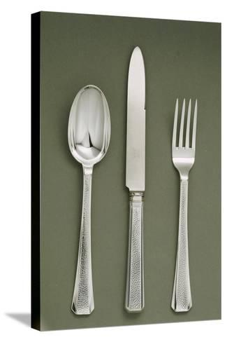 Silver Presentation Cutlery Spoon, Knife and Fork--Stretched Canvas Print