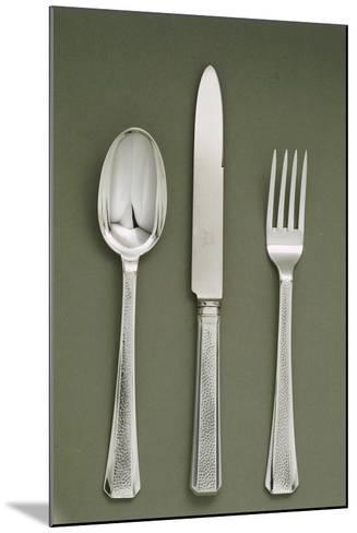 Silver Presentation Cutlery Spoon, Knife and Fork--Mounted Giclee Print