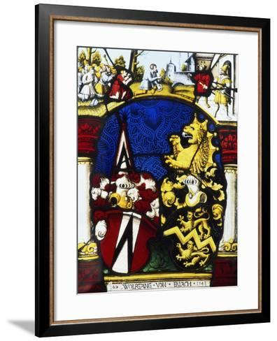 Stained-Glass Window in the Main Hall of Thun Castle, Canton of Bern, Detail, Switzerland--Framed Art Print