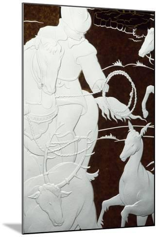 Hunting Scene, Sandblasted Engraving-Hollow on Sheet of Glass--Mounted Giclee Print