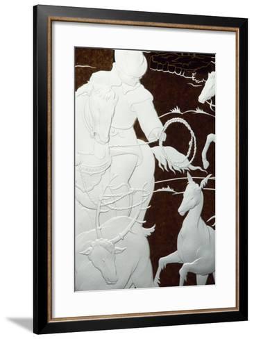 Hunting Scene, Sandblasted Engraving-Hollow on Sheet of Glass--Framed Art Print