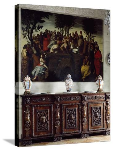 Italy, Somma Lombardo, Castello Visconti Di San Vito, Detail of Credenza in Dining Room--Stretched Canvas Print