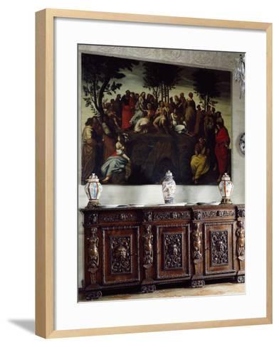 Italy, Somma Lombardo, Castello Visconti Di San Vito, Detail of Credenza in Dining Room--Framed Art Print