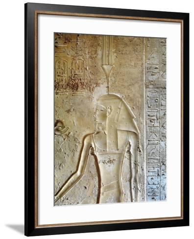 Egypt, Luxor, Valley of the Kings, Tomb of Seti II, Entrance Relief of Ra from Nineteenth Dynasty--Framed Art Print