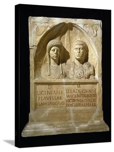 Stele for Sesto Adgemnio Macrinus, Tribune of Legio VI Victrix and His Wife, from Nemausus, France--Stretched Canvas Print