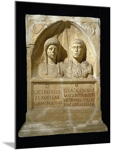 Stele for Sesto Adgemnio Macrinus, Tribune of Legio VI Victrix and His Wife, from Nemausus, France--Mounted Giclee Print