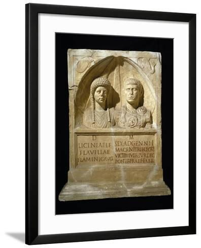 Stele for Sesto Adgemnio Macrinus, Tribune of Legio VI Victrix and His Wife, from Nemausus, France--Framed Art Print