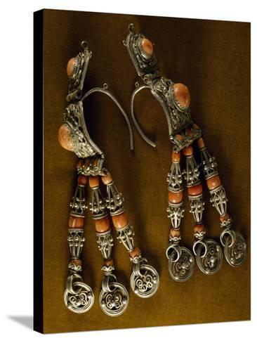 Earrings for Men in Silver-Gilt and Coral as Used by Semi-Nomadic Populations--Stretched Canvas Print