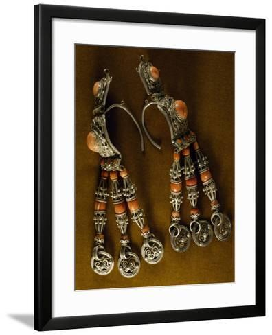 Earrings for Men in Silver-Gilt and Coral as Used by Semi-Nomadic Populations--Framed Art Print