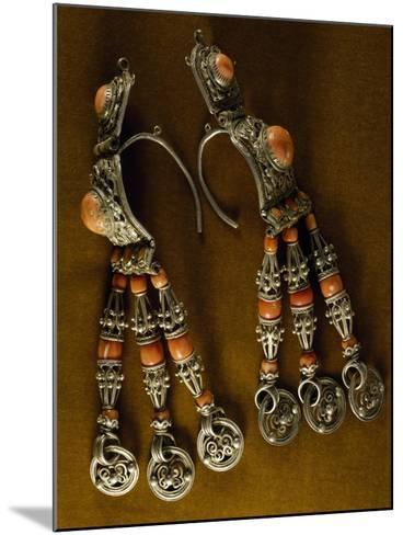 Earrings for Men in Silver-Gilt and Coral as Used by Semi-Nomadic Populations--Mounted Giclee Print