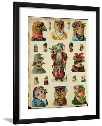 Father Christmas Surrounded by Birds, Collage--Framed Art Print