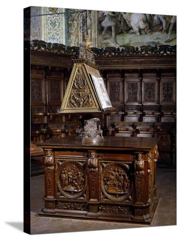 Lectern in Wooden Choir of St Peter's Basilica, Perugia, Detail, Italy, 16th Century--Stretched Canvas Print