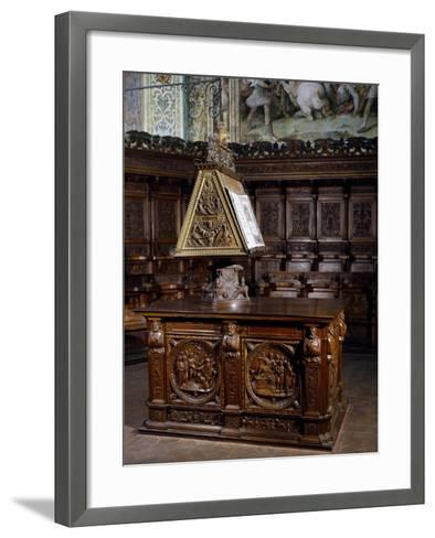 Lectern in Wooden Choir of St Peter's Basilica, Perugia, Detail, Italy, 16th Century--Framed Art Print
