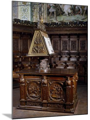 Lectern in Wooden Choir of St Peter's Basilica, Perugia, Detail, Italy, 16th Century--Mounted Giclee Print