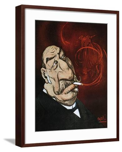 The Honourable Giolitti's Smoke, Satirical Cartoon from L'Asino Magazine, July 26, 1908, Italy--Framed Art Print