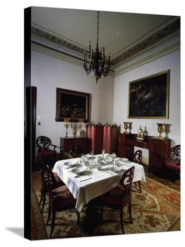 Interior of Biedermeier Style Dining Room, Villa Sartorio, Trieste, Friuli-Venezia Giulia, Italy--Stretched Canvas Print