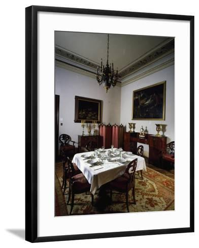 Interior of Biedermeier Style Dining Room, Villa Sartorio, Trieste, Friuli-Venezia Giulia, Italy--Framed Art Print