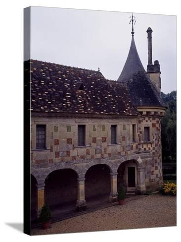 France, Chateau De Saint-Germain-De-Livet, Courtyard View--Stretched Canvas Print