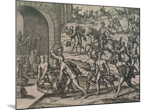 Natives Carrying Gold and Silver to the Conquerors, 1602--Mounted Giclee Print