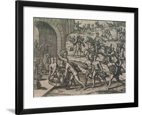 Natives Carrying Gold and Silver to the Conquerors, 1602--Framed Art Print