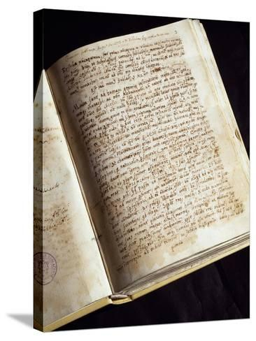 Codex in the Library of the Monastery of St Scholastica, Subiaco, Italy--Stretched Canvas Print