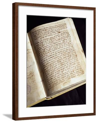 Codex in the Library of the Monastery of St Scholastica, Subiaco, Italy--Framed Art Print
