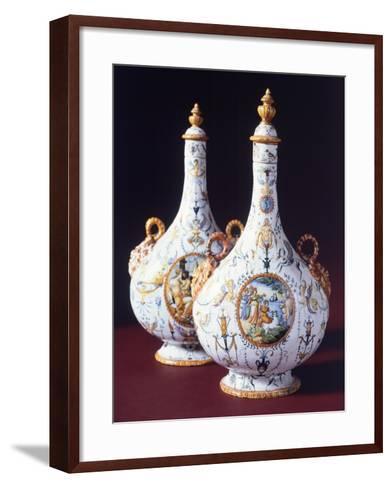 Flasks, Ceramic, Urbino Manufacture, Marche. Italy, 16th Century--Framed Art Print