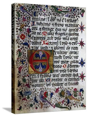 Illuminated Page from Book of Hours in Popular Sicilian Script, Manuscript, Italy--Stretched Canvas Print