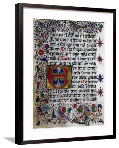 Illuminated Page from Book of Hours in Popular Sicilian Script, Manuscript, Italy--Framed Art Print