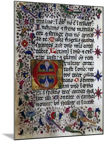 Illuminated Page from Book of Hours in Popular Sicilian Script, Manuscript, Italy--Mounted Giclee Print