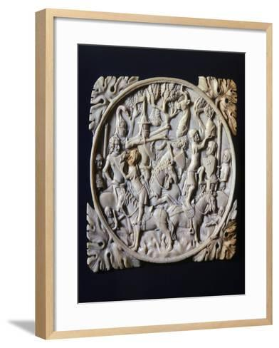 Mirror Box Valve Depicting Tournament, Ca 1380--Framed Art Print