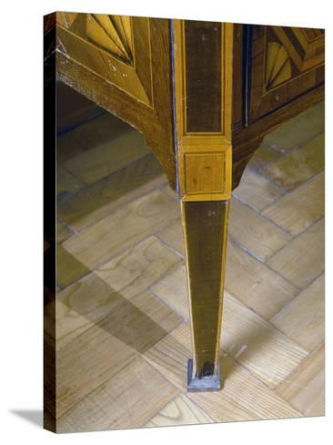 Louis XVI Style Sicilian Chest of Drawers with Inlays and Inset Marble Top. Italy, Detail of Leg--Stretched Canvas Print