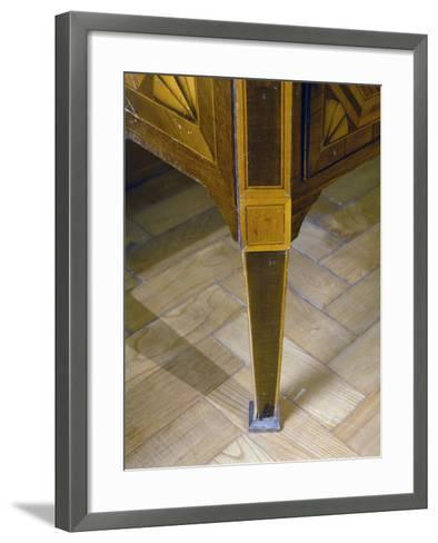 Louis XVI Style Sicilian Chest of Drawers with Inlays and Inset Marble Top. Italy, Detail of Leg--Framed Art Print