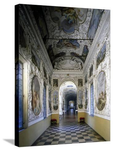 Glimpse of Hall and Poets' Gallery, Rocca Meli-Lupi of Soragna, Near Parma, Emilia-Romagna, Italy--Stretched Canvas Print