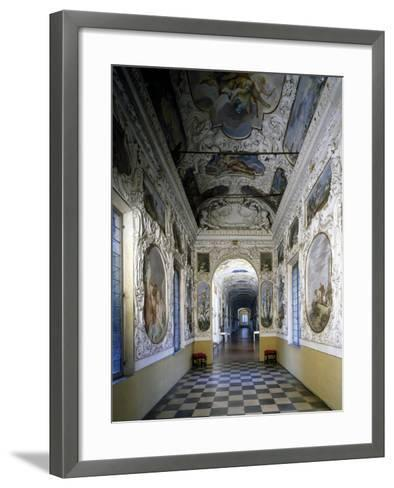 Glimpse of Hall and Poets' Gallery, Rocca Meli-Lupi of Soragna, Near Parma, Emilia-Romagna, Italy--Framed Art Print