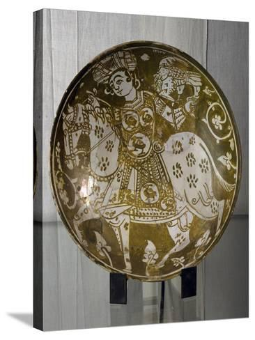 Plate Decorated with Hunter on Horseback with Hawk, Ceramics. Fatimid Period, 11th Century--Stretched Canvas Print