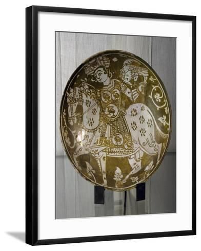 Plate Decorated with Hunter on Horseback with Hawk, Ceramics. Fatimid Period, 11th Century--Framed Art Print