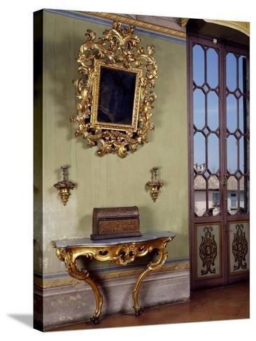 Mirror with Candle Holders and French Side Table, Rocca Sanvitale, Fontanellato, Near Parma--Stretched Canvas Print
