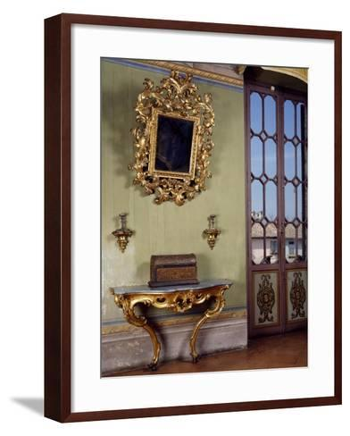Mirror with Candle Holders and French Side Table, Rocca Sanvitale, Fontanellato, Near Parma--Framed Art Print