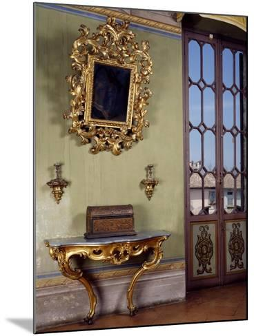 Mirror with Candle Holders and French Side Table, Rocca Sanvitale, Fontanellato, Near Parma--Mounted Giclee Print
