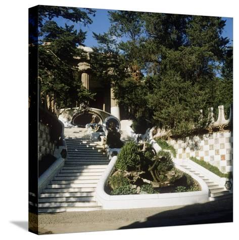 Spain, Catalonia, Barcelona, Staircase in Park Guell--Stretched Canvas Print