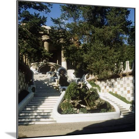 Spain, Catalonia, Barcelona, Staircase in Park Guell--Mounted Giclee Print
