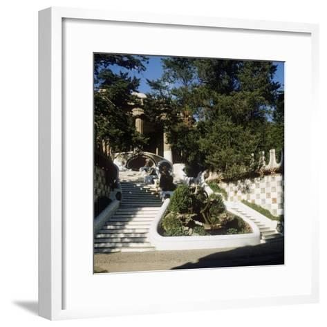Spain, Catalonia, Barcelona, Staircase in Park Guell--Framed Art Print