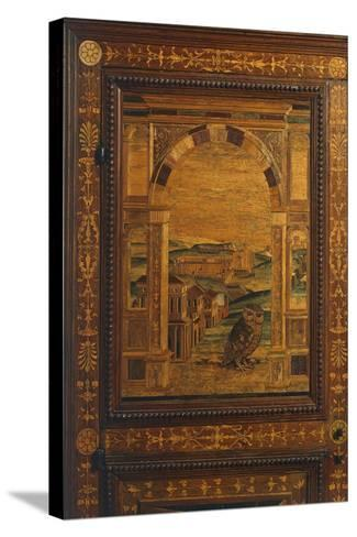 Inlay Depicting View of City, Detail from Walnut Cabinet, Ca 1500, Italy, 16th Century--Stretched Canvas Print