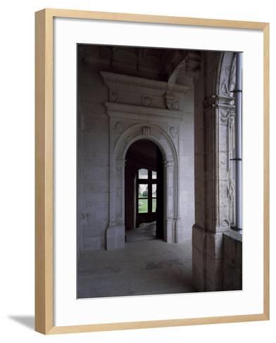 Gallery Courtyard of Chateau De La Rochefoucauld, Poitou-Charentes, Detail, France, 16th Century--Framed Art Print
